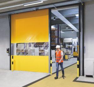 Brzootvarajuća industrijska rolo vrata Butzbach Novosprint Duo sa neovisnim kretanjem krila vrata.